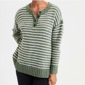 American Eagle Green White Stripe Henley Sweater